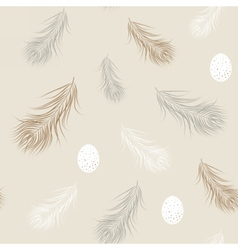 Wild eggs and feathers seamless pattern Natural vector image vector image