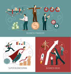 winner businessman flat icons banner square vector image