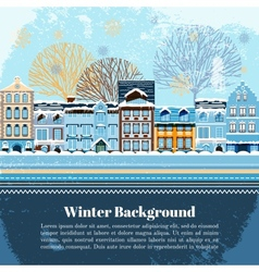 Winter invitation postcard template vector image