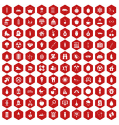 100 child health icons hexagon red vector