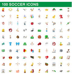 100 soccer icons set cartoon style vector