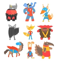 Animas disguised as superheroes set of geometric vector
