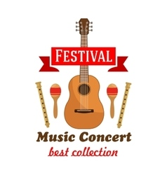 Music concert badge with musical instruments vector