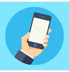 Hand holding smart phone flat vector