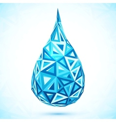 Abstract triangles blue water drop vector
