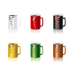 Set colorful Cups with abstract smoke vector image