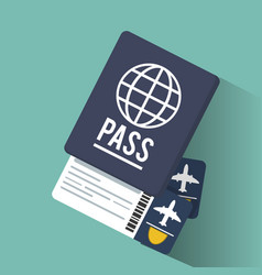 Passport tickets airline vacation vector