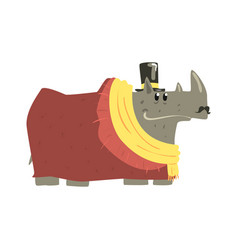 Cute cartoon rhinoceros wearing coat scarf and vector