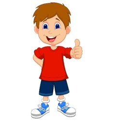 Cartoon boy giving you thumbs up vector image
