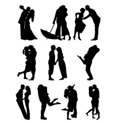 Romantic Couples Cilhouettes vector image
