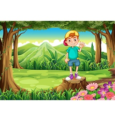 A boy waving while standing above the stump in the vector image