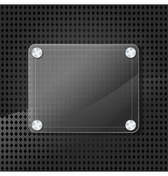 Glass frame on grid background vector