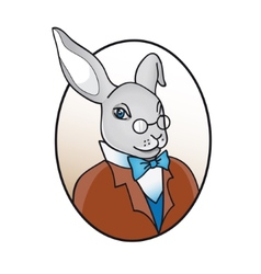 Smart rabbit in glasses with bow tie vector