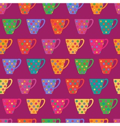 Bright seamless pattern with cups in polka dot vector