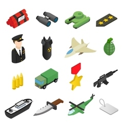 Weapon isometric 3d icons set vector