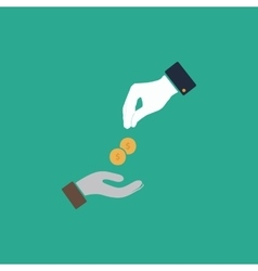 Hands giving and receiving money vector