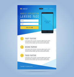 Landing page for mobile application promotion vector