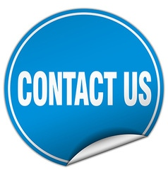 Contact us round blue sticker isolated on white vector