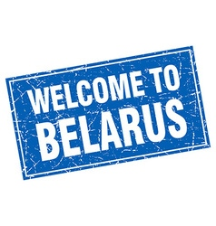 Belarus blue square grunge welcome to stamp vector