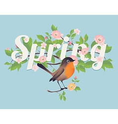 Spring Banner with a Bird vector image