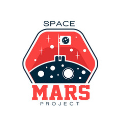 Abstract logo with flag on mars discovering and vector