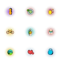Active lifestyle icons set pop-art style vector