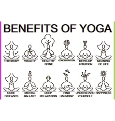 Advantages and benefits of practice yoga vector
