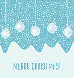 blue card with Christmas balls vector image vector image