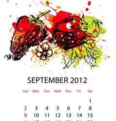 calendar with fruit for 2012 september vector image vector image