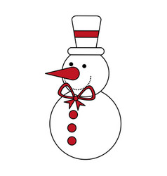Color silhouette image of snowman with bow tie and vector