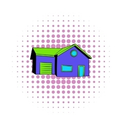 Cottage with a garage icon comics style vector