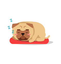 Cute cartoon pug dog character sleeping on red mat vector