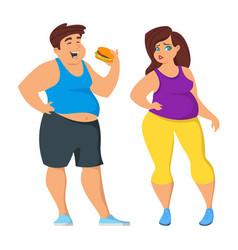 fat man and woman vector image vector image