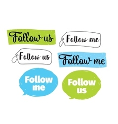 Follow me follow us labels design vector image vector image