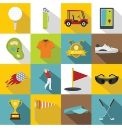 Golf items icons set flat style vector image