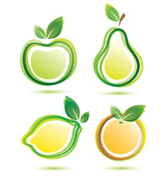 Green fruits icons bio food concept vector