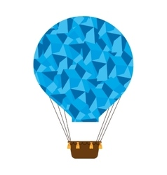 hot balloon basket blue abstract icon vector image vector image