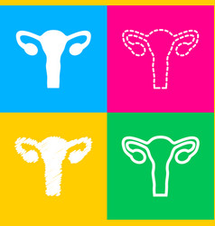 Human body anatomy uterus sign four styles of vector
