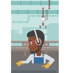 Man working on metal press machine vector