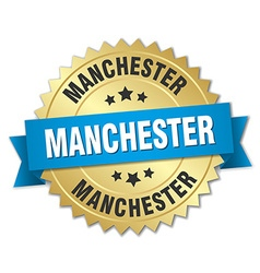 Manchester round golden badge with blue ribbon vector