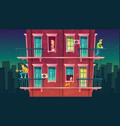 Residential multi-storey apartment vector