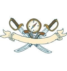 Retro heraldic ribbon with sabers and compass vector