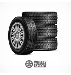 Rubber wheels on white vector image vector image