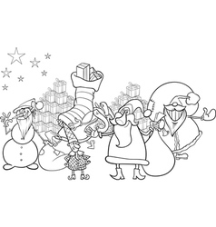 Santa claus cartoon coloring page vector