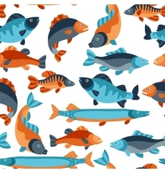 Seamless pattern with various fish background vector