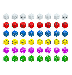 set of isometric dice combination white red vector image vector image