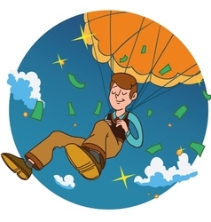 Smiling man fall on a golden parachute in circle vector