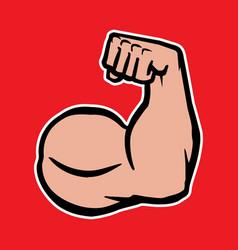 Strong bodybuilder biceps flex arm icon vector