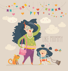 stylish mother with her daughter vector image vector image