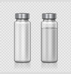 transparent glass medical ampoule realistic vector image vector image